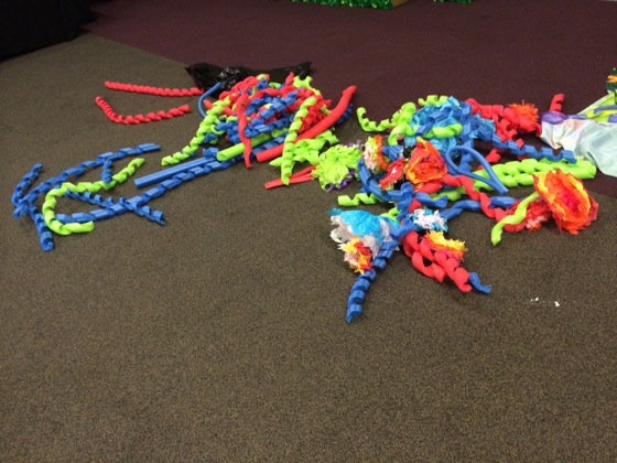 Pool noodles cut into spirals. We would later use these as part of the middle sections of giant flowers.