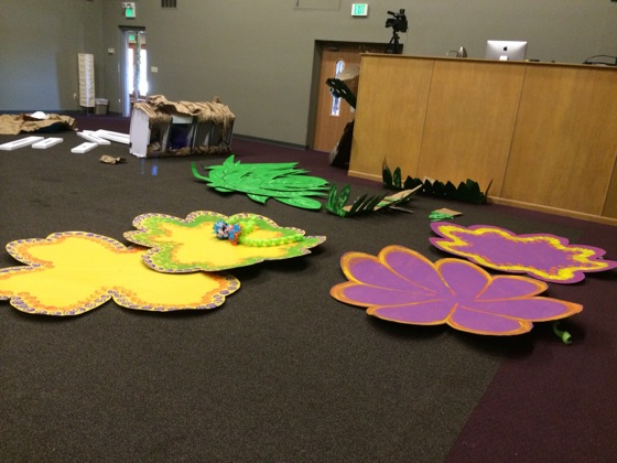 Borrowed these giant cardboard flowers that we would mount on the back of our main stage.
