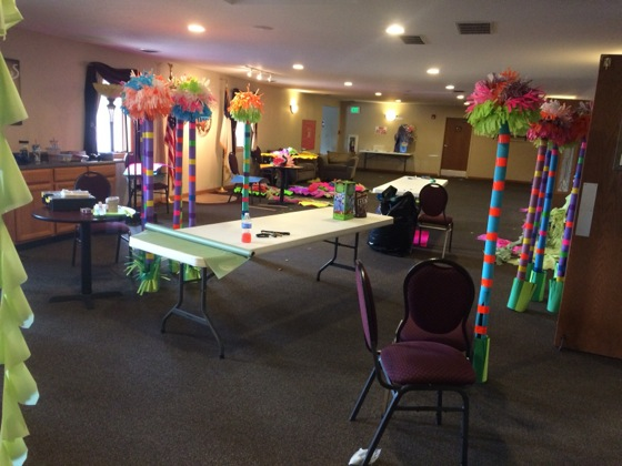 Lobby as a work zone to create Dr. Seuss trees.