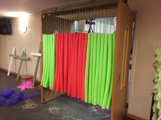 We made did this to 2 wide doorways using pool noodles hanging with twine.