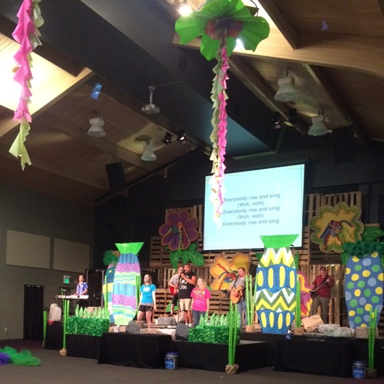 A view of our stage and worship center ceiling at VBS Worship Practice.