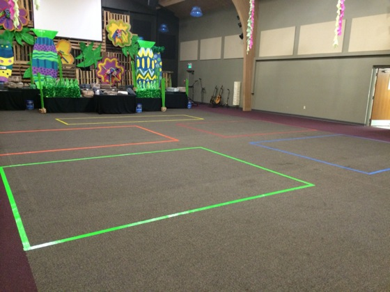 Our VBS groups were color-based, so we put matching colored duct-tape rectangles on the Worship Center floor as designated areas for each group during opening and closing sessions at VBS.