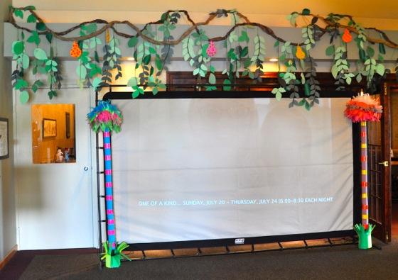 I set-up this huge projector screen in the lobby, and it played the slideshows all week so that parents could stop for a minute and check out everything we had been doing at VBS.