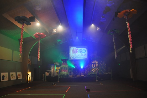 The Worship Center set-up and everything turned on, ready for VBS worship.