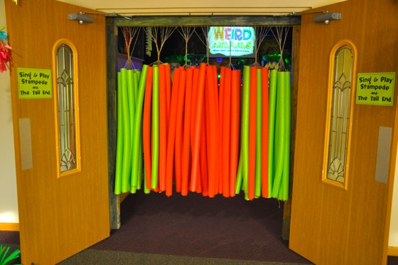 The pool-noodle door to the Worship Center.