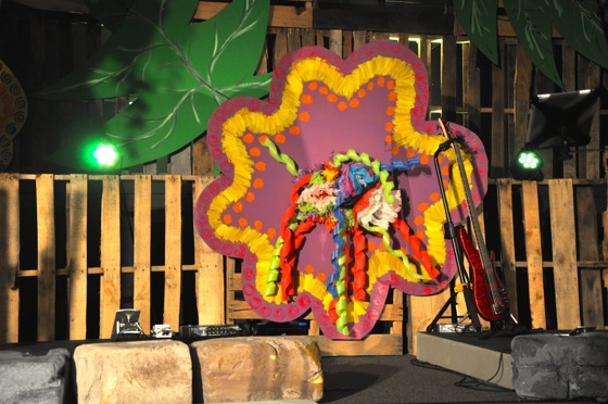 A closer look at a flower mounted on the main stage.