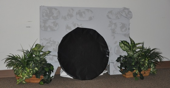 We reused part of a stone arch from Kingdom Rock VBS 2013 to make Jesus' tomb in Bible Adventures Station.