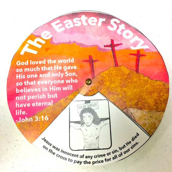 Have fun with the final product, spinning the top wheel to reveal 4 parts of the Easter story.