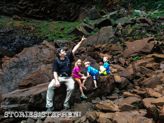 Pop-O (Jennifer's Dad) admired the massive gorge we were in at the bottom of Fall Creek Falls.