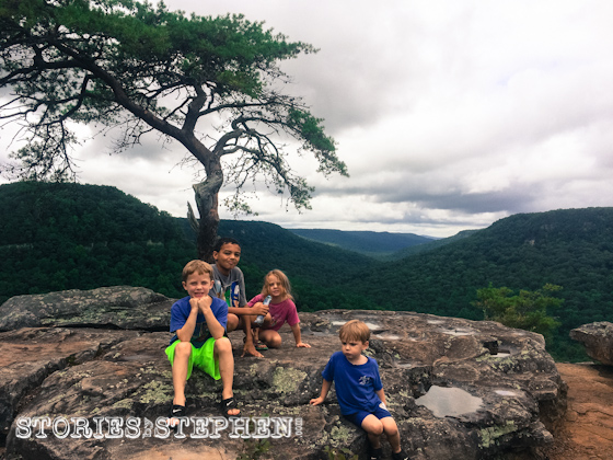 The kids relaxing on Buzzard's Roost.