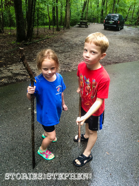 Julie Beth and Will also took their turns with the spears.