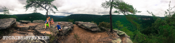 Panoramic view of the kids on top of Buzzard's Roost.