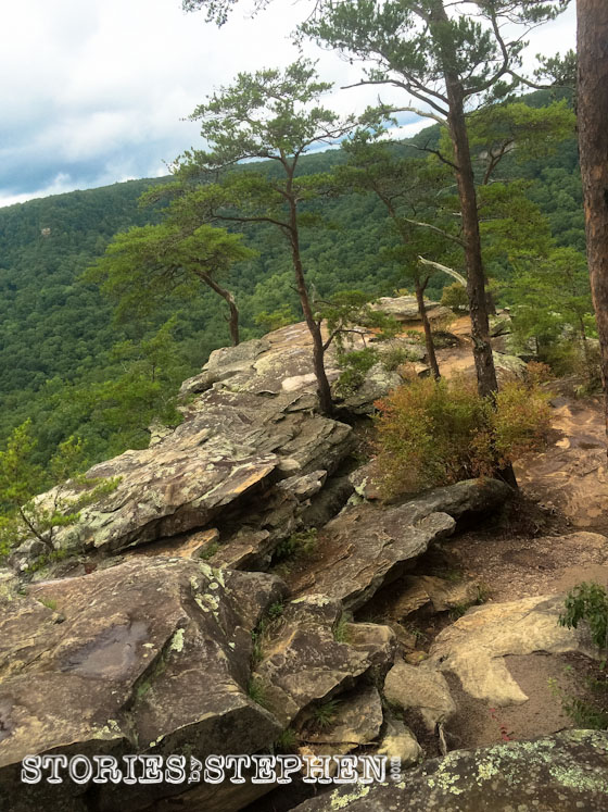 Looking down on the rocky platform of Buzzard's Roost.