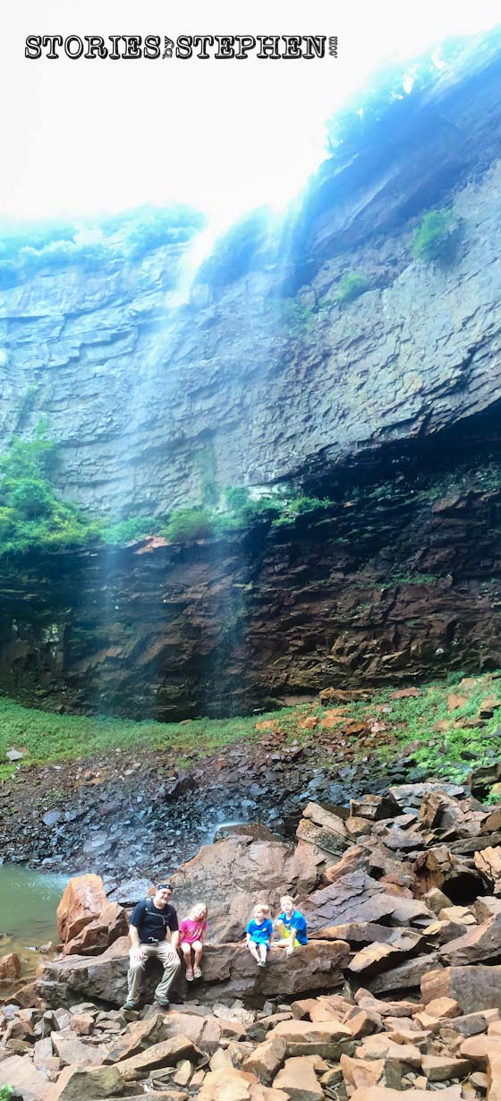This vertical panoramic shot shows just how tiny we were under Fall Creek Falls.