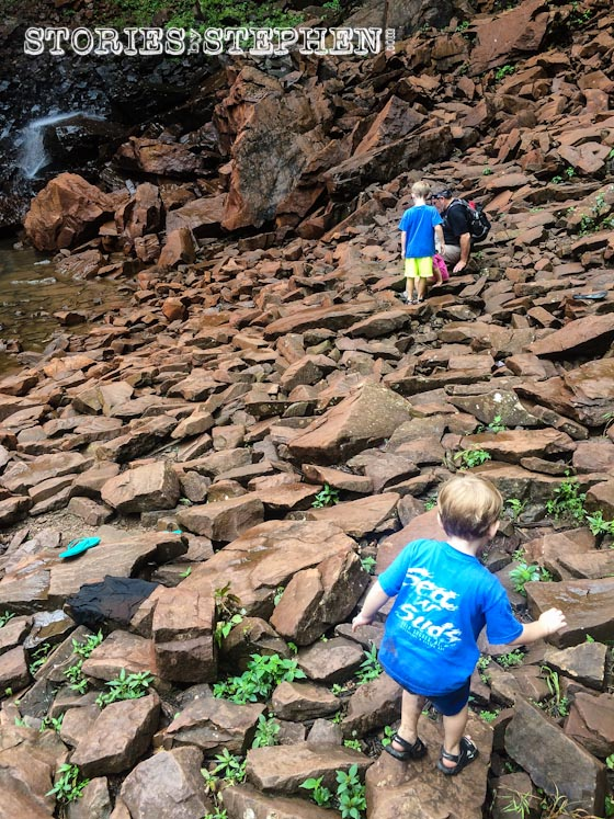 Making it to the end of the trail was not enough for my kids. They wanted to climb out on the dangerously slippery rocks underneath Fall Creek Falls.