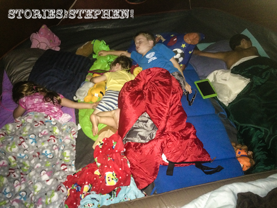 The kids slept all piled together on 1 side of my new spacious 8-man Coleman tent.