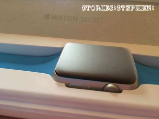 A closer look at the Apple Watch in its case.