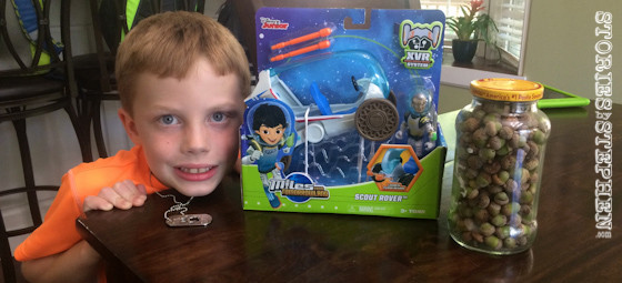"""Will picked out a Miles From Tomorrowland """"Scout Rover"""" toy for his winning prize."""