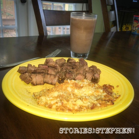 What better way is there to reload on protein and carbs after a long run than with filet, hashbrown casserole and chocolate milk?