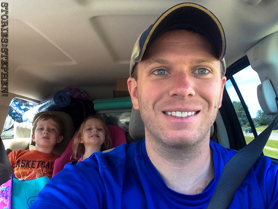 Loaded up and headed out for our 2nd camping trip this year! Sam is back there too, but he is hidden behind me in this selfie.