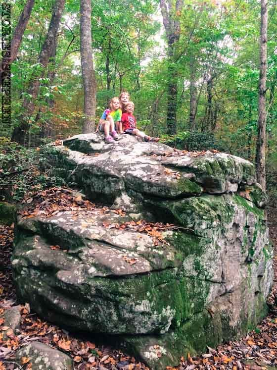 The kids loved all the boulders they could climb at Desoto State Park.