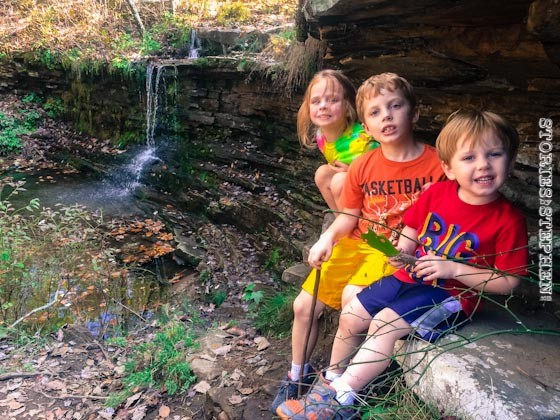 The kids at waterfall #1.