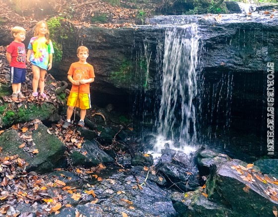 The kids at waterfall #2.