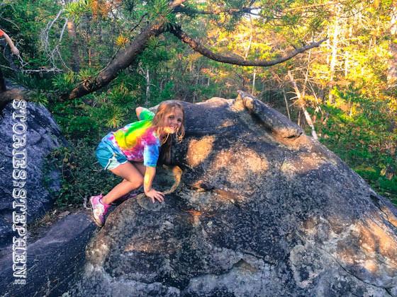 Julie Beth climbing.