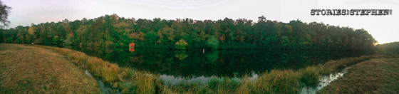 Panoramic of the river view leading up to Desoto Falls.