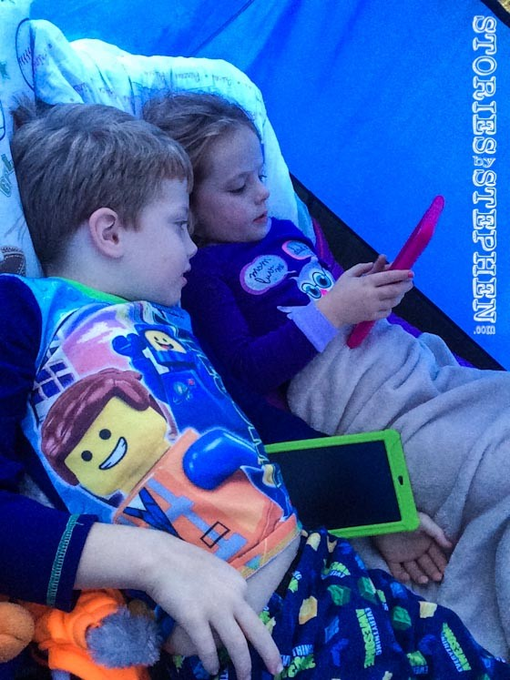 What would sleeping in a tent be without iPads? Hey I was camping by myself with 3 young kids, so I think it is alright to let them have at least 1 luxury.