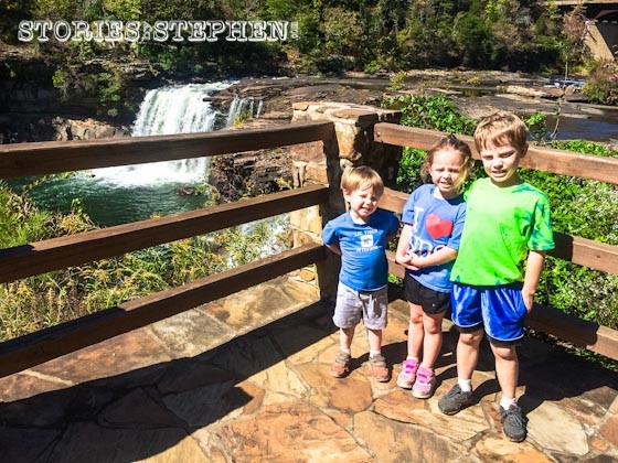 The kids at Little River Falls.