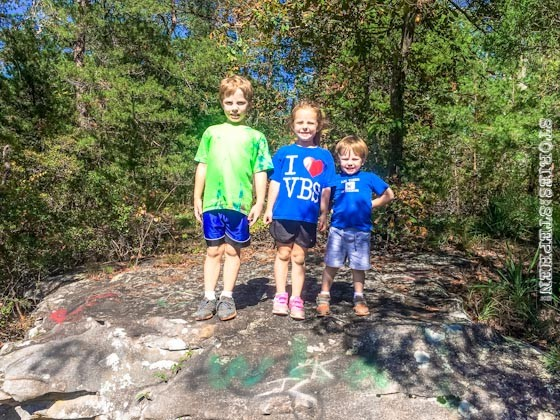 The kids on top of another big rock at Little River Canyon.