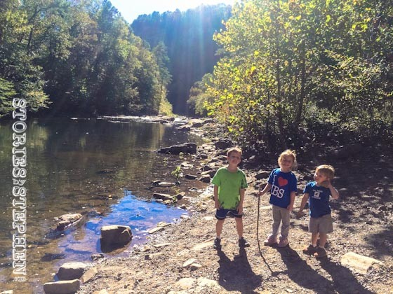 The kids by Little River.