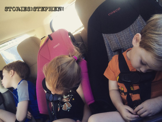 The kids worn out after a long, eventful day at the Memphis zoo.