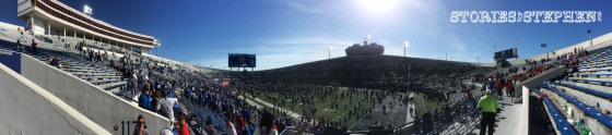 Panoramic shot of the stadium after the game as many of the fans rushed the field.