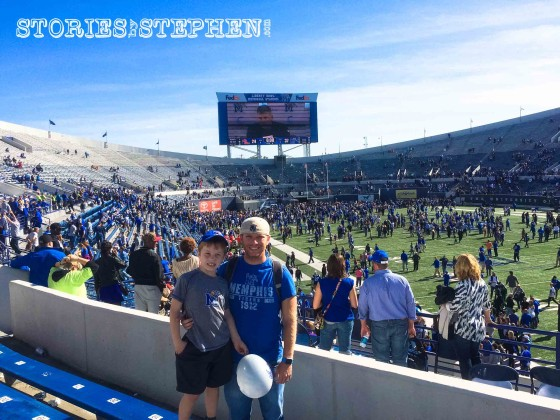 Will and I enjoying the Tigers' victory over Ole Miss. Will was very excited about the Memphis Tigers balloon he found after the game.
