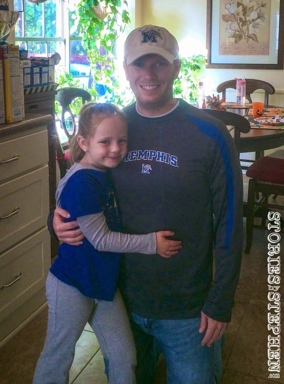 Julie Beth is also in her Memphis Tigers gear, although she just watched the game on TV.