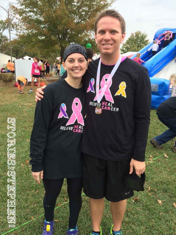 Jennifer and I after I received my medal for 1st place in my age group for the 10K Race at the 2015 Pink Pumpkin Run.
