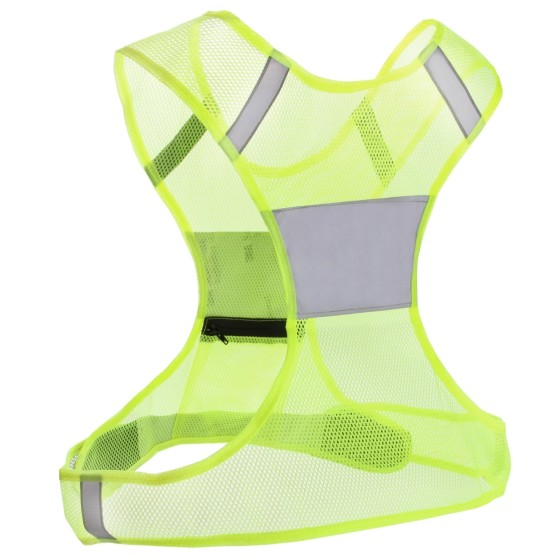 This Roadrunner Reflective Vest assures that runners can be seen by car headlights from all directions while running at night.