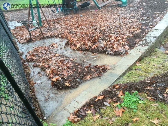This side of our playground got pretty messed up by streams of water that carried away the rubber mulch.