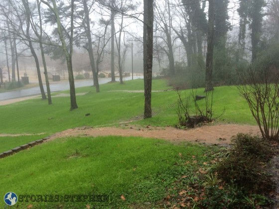 The water flowed around the house and through our front yard in large streams with waterfalls.