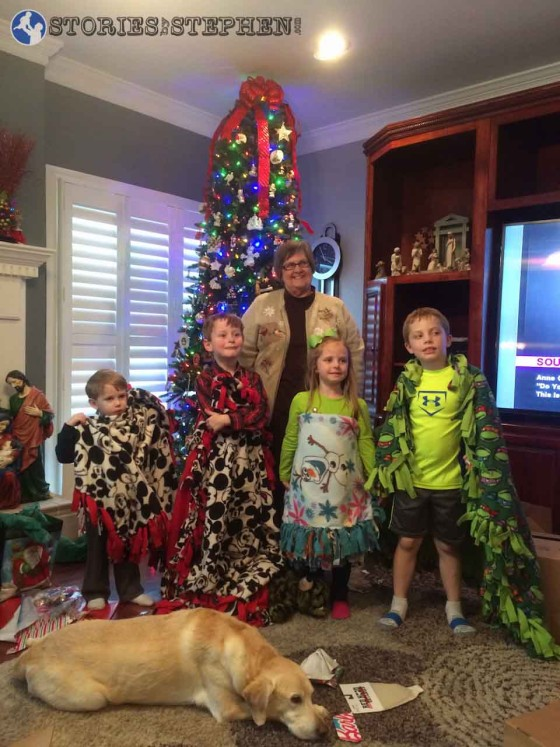 Granny made all the kids fleece blankets.