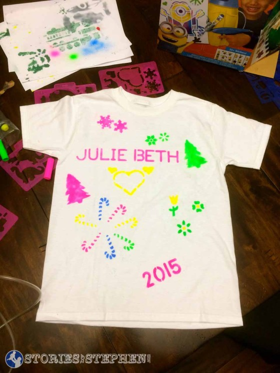I helped Julie Beth use fabric markers and her new airbrush kit to make this Christmas t-shirt.