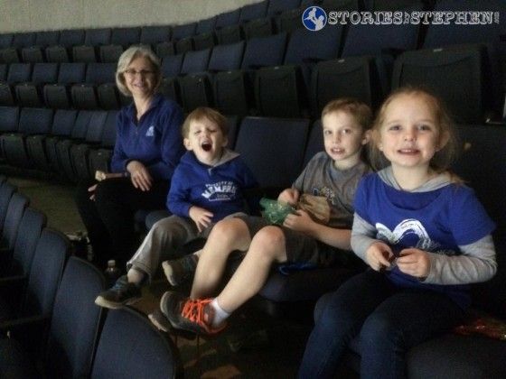 Mimi and the kids at the Memphis Tigers vs Tulane basketball game.