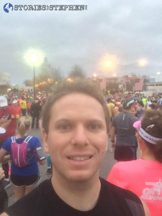 Marathon starting line selfie.