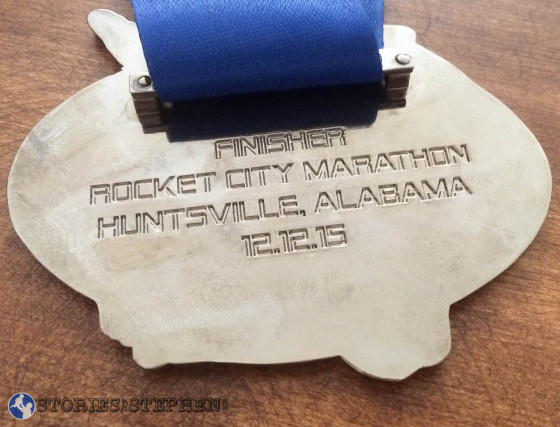 Back view of the Rocket City Marathon 2015 finisher's medal.
