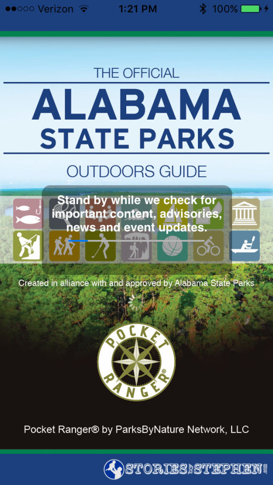 """Alabama State Parks has an official """"Outdoors Guide"""" app, which turned out to be very useful."""