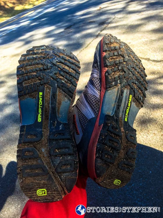 I am glad I got waterproof trail shoes because I was constantly running through mud and crossing creeks. This was a good test for my new shoes, and I only came away with a couple blisters and bruises.