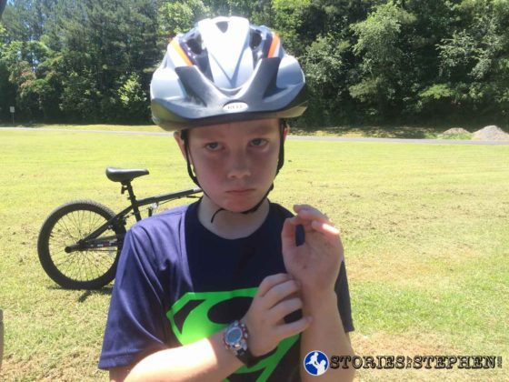 Will was pretty upset after busting hard on his bike.