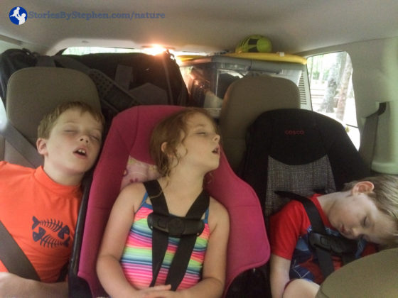 Once again the kids were worn out and all fell asleep in the car driving back to the campground.